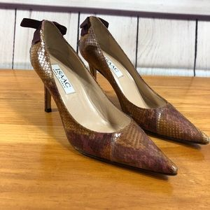Isaac Snake Skin Point Toe Heels w/ Bow Detail